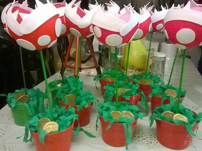 DIY Planta carnívora de Mario bros para centro de mesa!!