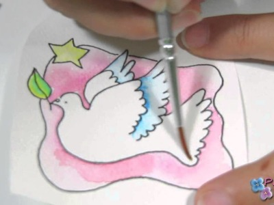 Manualidades de Navidad 2014 *How to Watercolour Coloring* Adornos de Navidad Tags Pintura Facil