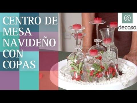 Centro de mesa con copas   DIY Decoración Navidad