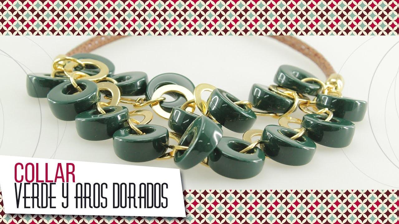 Collar verde con aros dorados | VARIEDADES CAROL