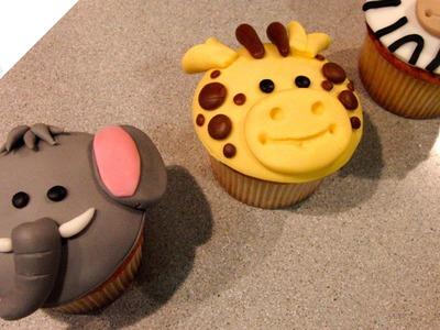 Cómo hacer Cupcakes Animales de la Selva (elefante, jirafa y cebra) | Cupcakes por Azúcar con Amor