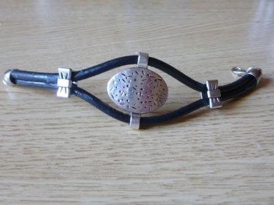 Como hacer una pulsera de cuero con adorno metálico