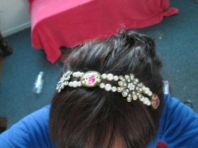 DIY accesorio para la cabeza diadema de perlas y flores