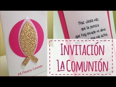 INVITACIÓN DE COMUNIÓN: FUCSIA Y DORADO