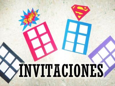 Invitación para Fiesta de Superheroes. Moldes combo #1