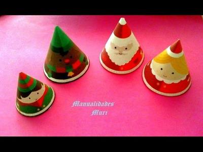 Manualidades. Decoración para Navidad. Figuritas de conos. Muy fácil.