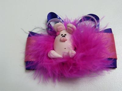 Moñitos pequeños decorados con caritas de conejos en porcelanicron. ideas faciles moños