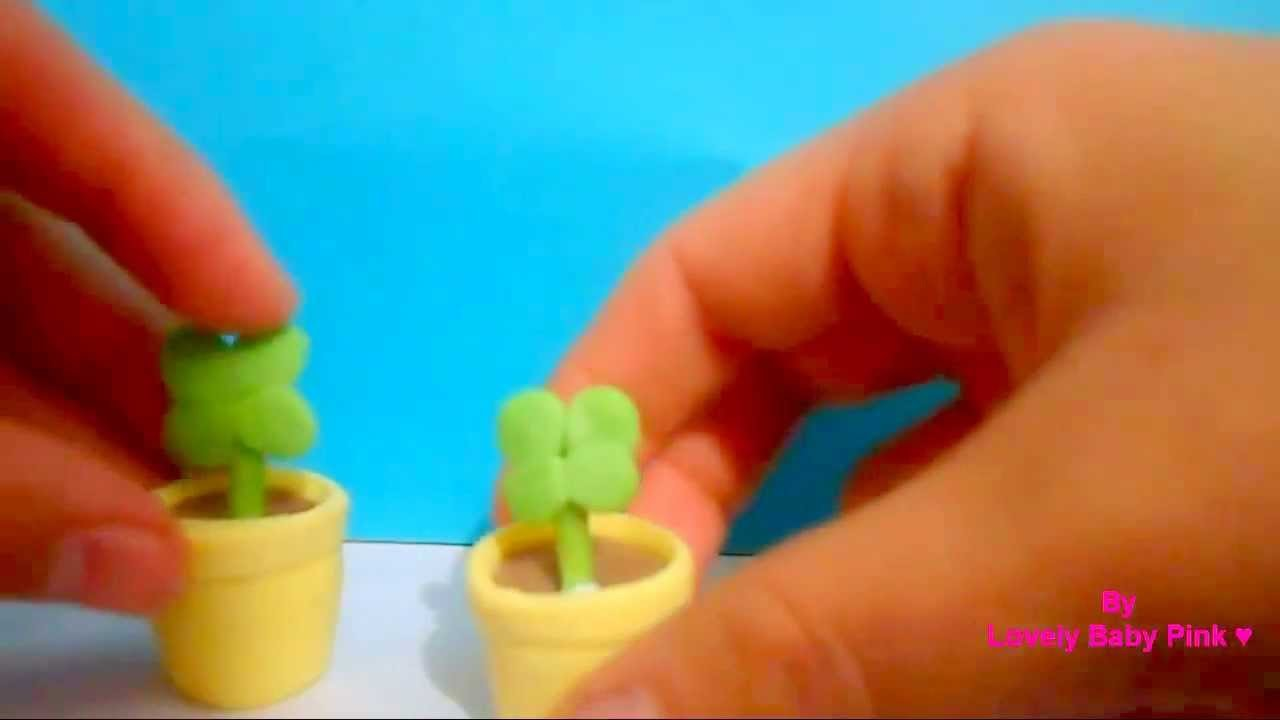 Plantita de pasta flexible con maceta-- manualidades faciles paso a paso