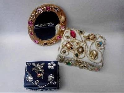 Como hacer marco de espejo con fieltro y adornarlo con botones y aretes