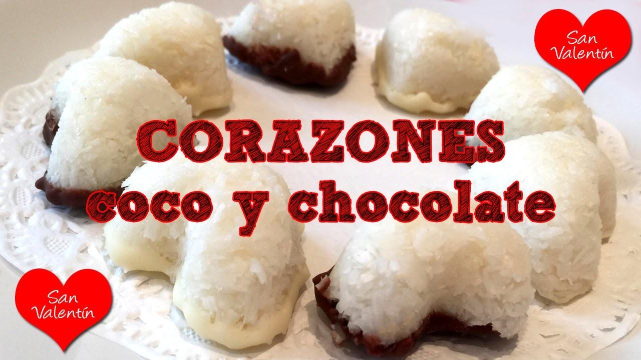 Corazones de coco y chocolate: Receta muy fácil
