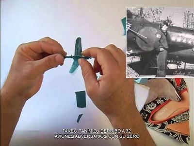 Manualidad de Mitsubishi A6M Zero en Maquigami y Kirigami