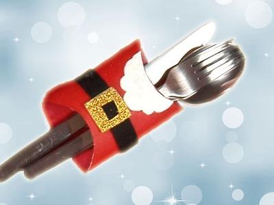 Porta cubiertos de Papá Noel para la cena de Navidad