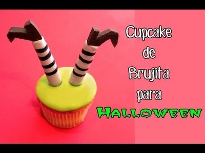 Recetas para Halloween: Cómo hacer un cupcake decorado de brujita.