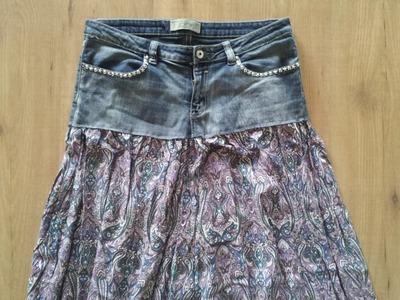 Reciclaje de ropa mezclando un tejano y una falda | facilisimo.com