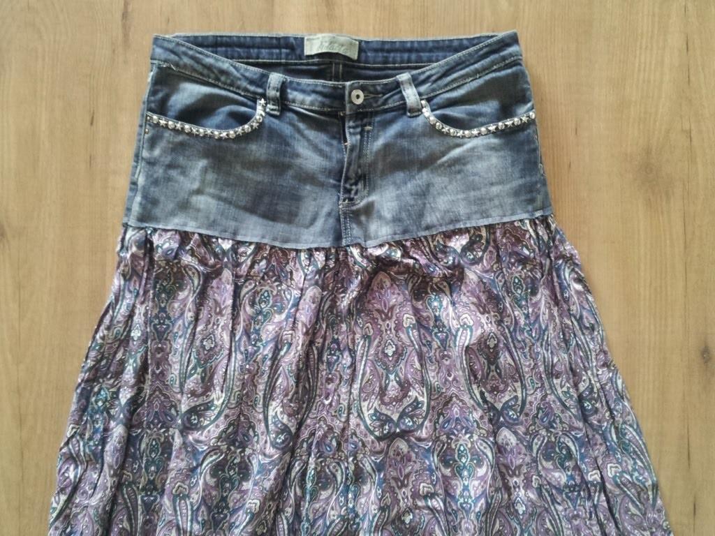 Reciclaje de ropa mezclando un tejano y una falda   facilisimo.com