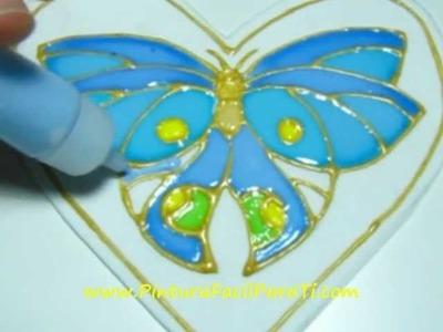 3 Corazon Mariposa San Valentin Falso Vitral 14 de Febrero Dia de los Enamorados Pintura Facil
