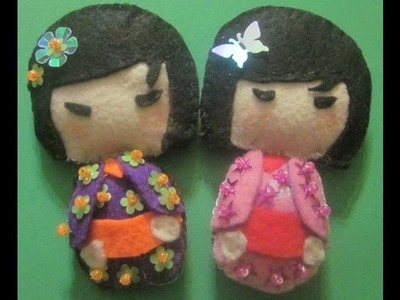 Broches de muñequitas Japonesas como las Kimmidoll.