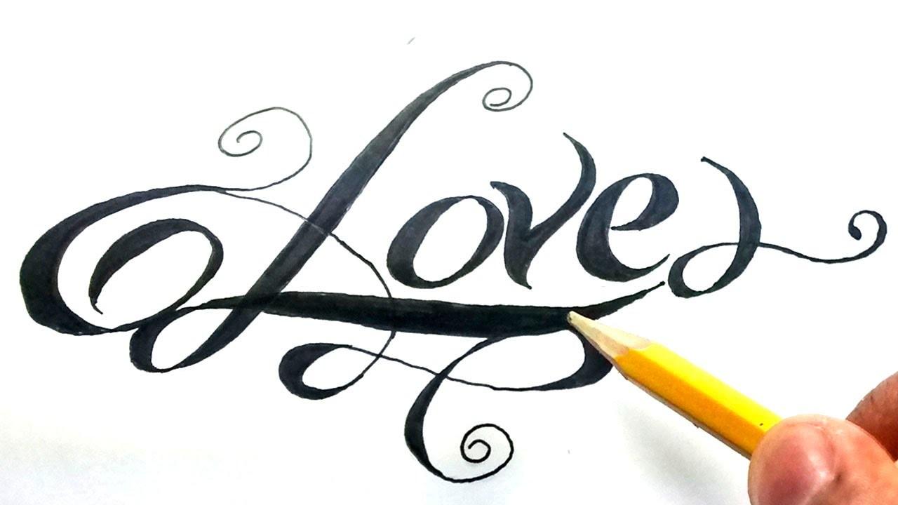 Como dibujar la palabra love paso a paso - (How to draw love in letters) Love en cursiva