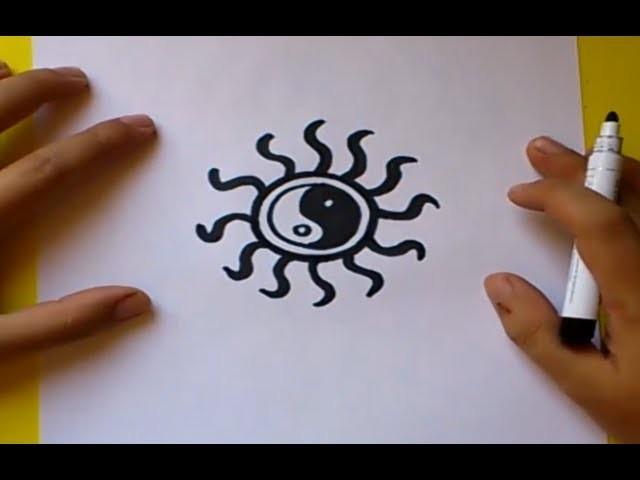 Como dibujar un simbolo yin yang paso a paso 2 | How to draw one yin yang symbol 2