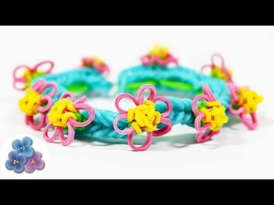 Como Hacer pulseras de gomitas con Mini Flores FACIL Rainbow Loom Pulseras de Ligas Pintura Facil