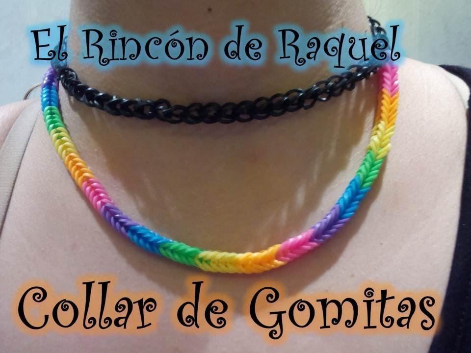 Como hacer un collar doble con gomitas rainbow loom