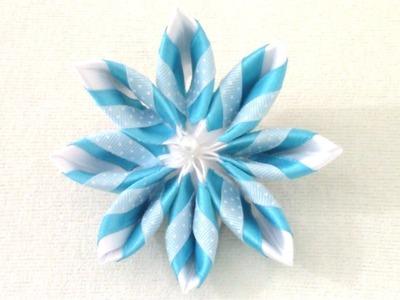 DIY Kanzashi Flores degradé en tres cintas colorful flowers in ribbons