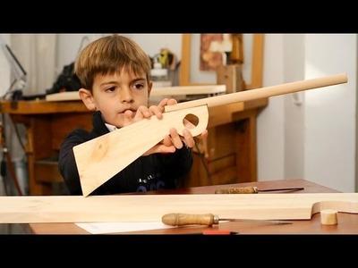 Juguetes de madera, hacer una escopeta para niños