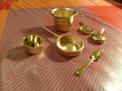Miniatura DIY Sartén  para tu cocina de casa de muñecas