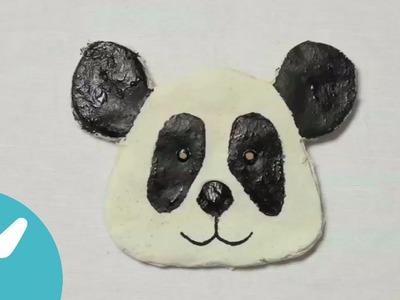 Oso panda de pasta de sal. Animales de pasta de sal