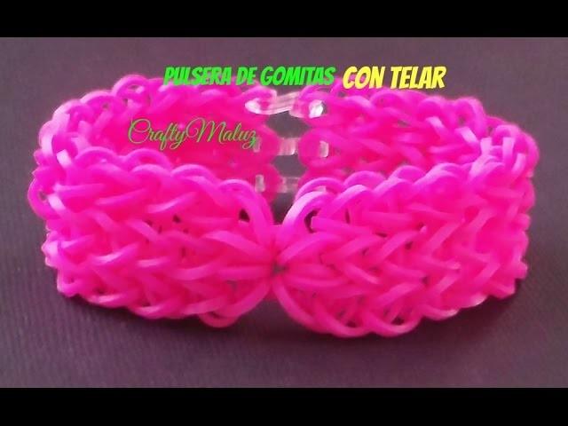 Tutoriales:♥Pulsera de Gomitas Double Triple Single con Diseño (CON TELAR) Rainbow Loom