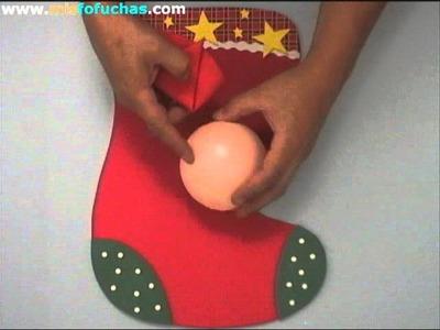 Bota o calcetín 3D de navidad con cabeza Santa Claus fofucho Parte 2