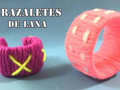 Brazaletes de lana * Manualidades de reciclaje para niños