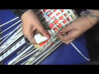 Manualidades - Tutorial Cesto hecho con periodico - Reciclaje