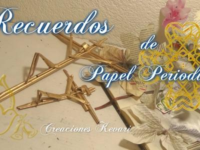 Recuerdos para Bautizo y Primera Comunion con Papel Periodico DIY Reciclado Cristo en la cruz