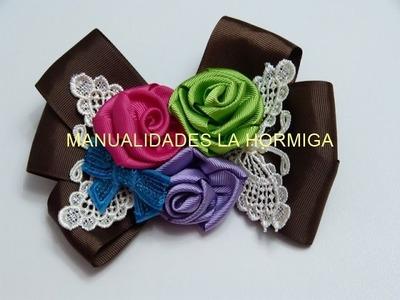 Rosas en  cinta gross  para tus accesorios del cabello. hair flowers ribbons