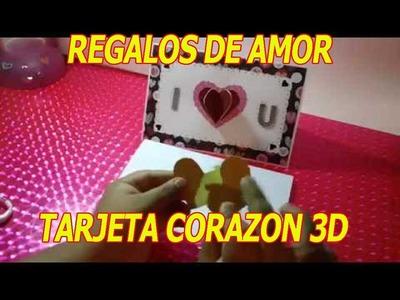 Tarjeta de corazon 3D para enamorados | manualidades para regalar a un novio FACIL hechos a mano