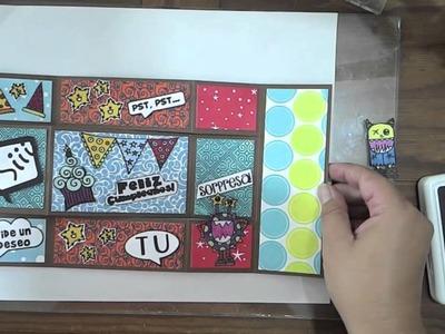 Tarjeta de cumpleaños en 3 niveles