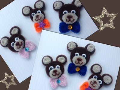 CARITA DE OSITO CON LIMPIA PIPAS.- PIPE CLEANERS HEAD BEAR .