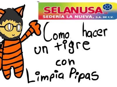 Como hacer un tigre con limpiapipas