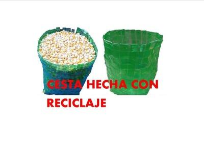 Manualidades - Como hacer canasta con botellas recicladas - RECICLAJE