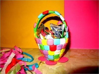 Manualidades souvenir canasta para dulces