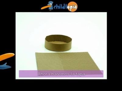 Caja redonda. Manualidades infantiles, manualidades con cartón