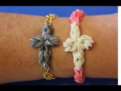 Como hacer pulseras de gomitas con cruces
