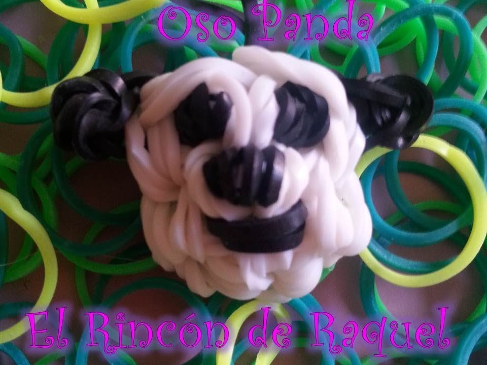 Como hacer un oso panda con gomitas rainbow loom