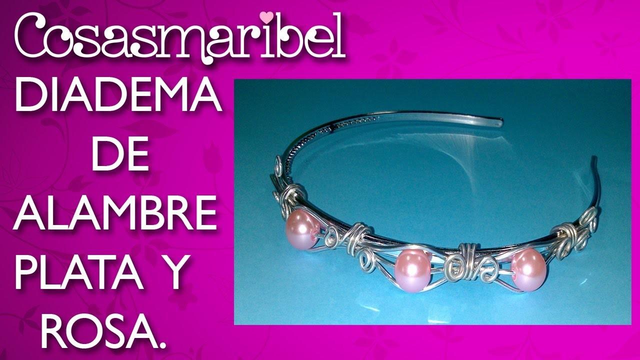 DIY;Como hacer una preciosa diadema en tonos plata y rosa.Corona celta.Hair accessories.