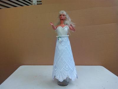 Diy como hacer vestido de novia  para barbie sin aguja 4