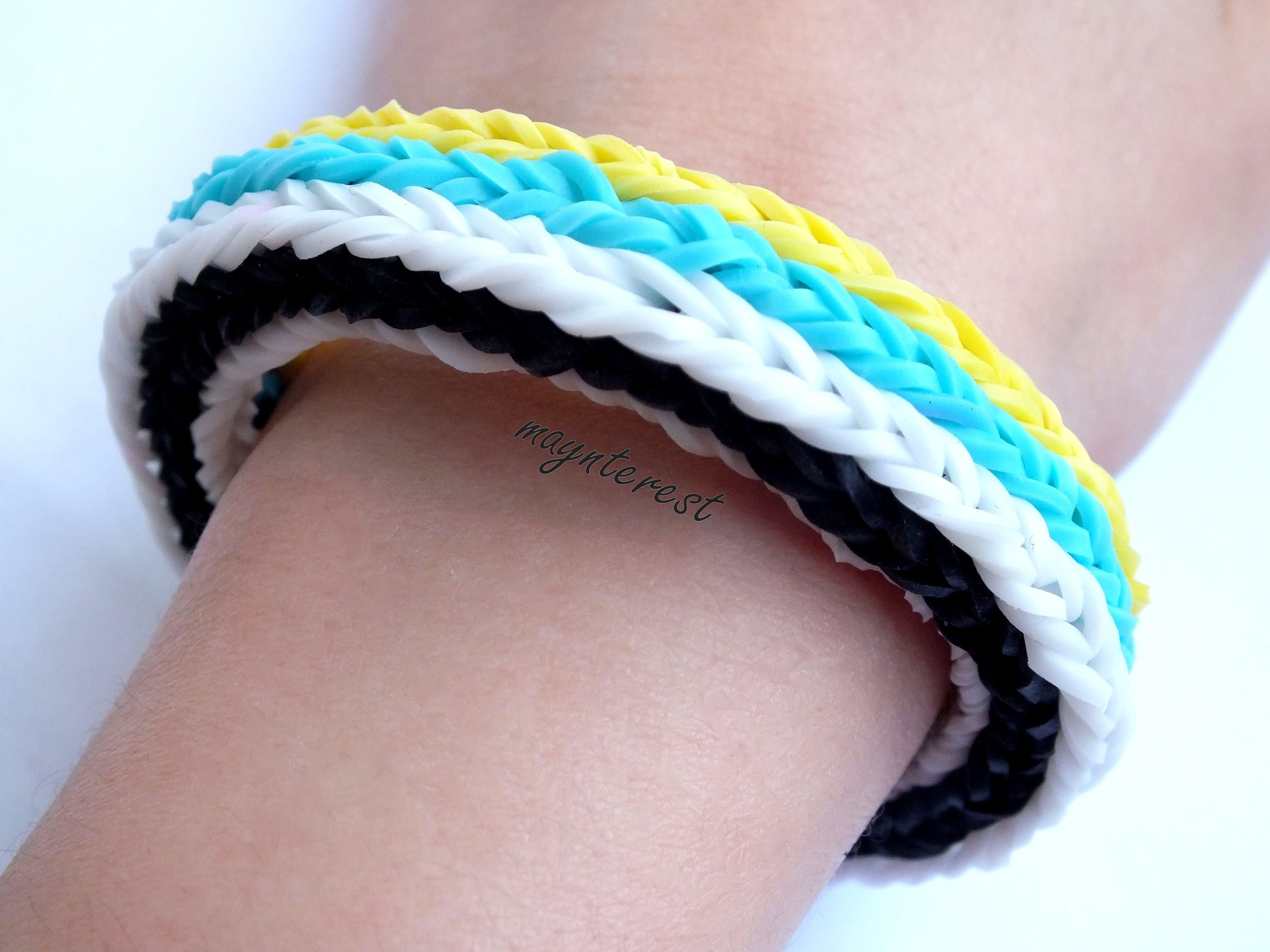 Manualidades DIY: PULSERA de GOMITAS Long cross triple fishtail (con telar) | BRACELET