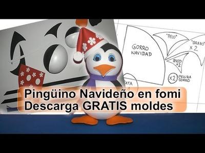 Pingüino con gorro de navidad Santa Claus Decoración navideña Fofuchas 3D