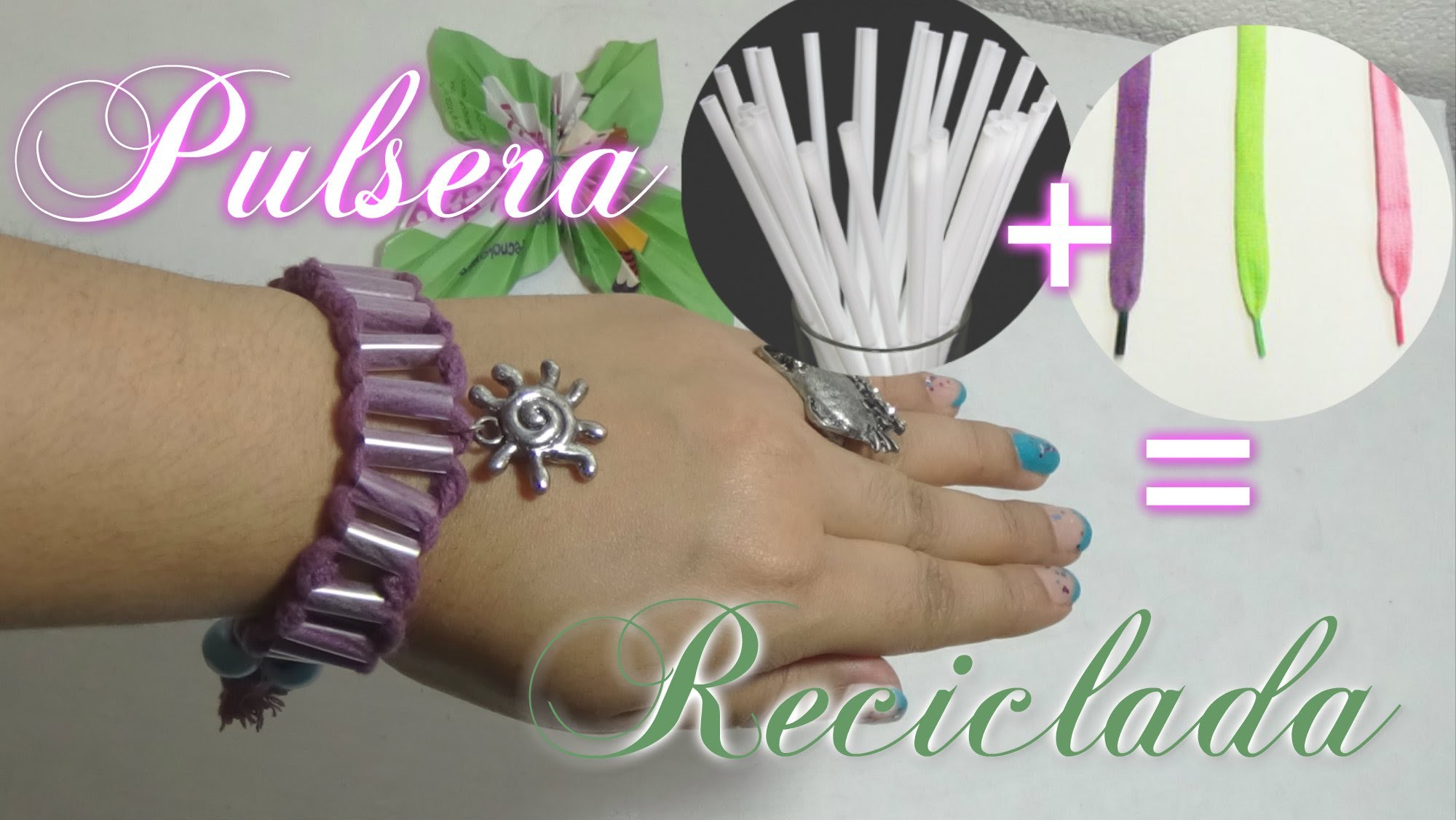 Pulsera reciclada con Cordones o agujetas y pajillas o popotes, DIY Easy Straw Bracelet