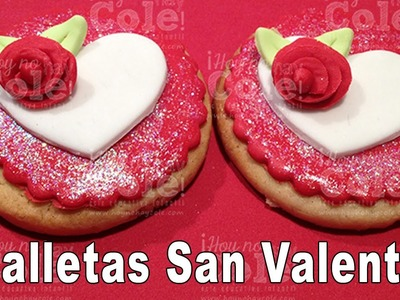 Recetas para San Valentín: galletas decoradas con forma de corazón y flor.